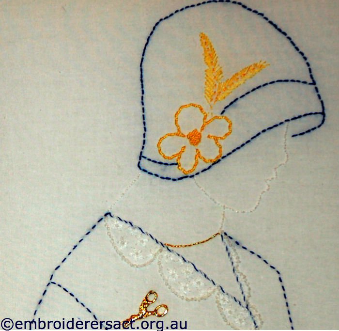 Lady in Blue Hat stitchery by Doreen Grey