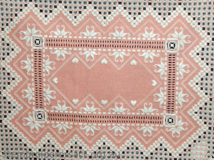 Detail hardanger tray cloth stitched by Anne Lond