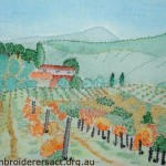 Autumn Vineyard in Tuscany stitched by Meryl Fellow