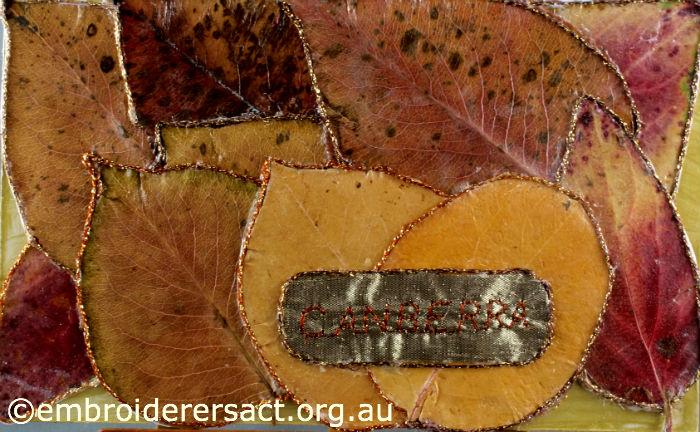 Autumn Leaves stitched postcard
