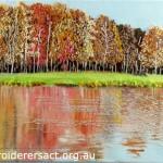 Beside Lake stitched postcard by Lyn Baldwin