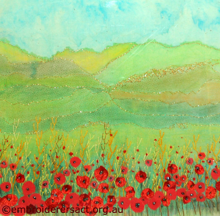 Poppy field stitched by Betty Matthews