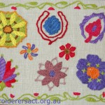 Suzani embroidery stitched by Christine Bailey in Alison Snepp class