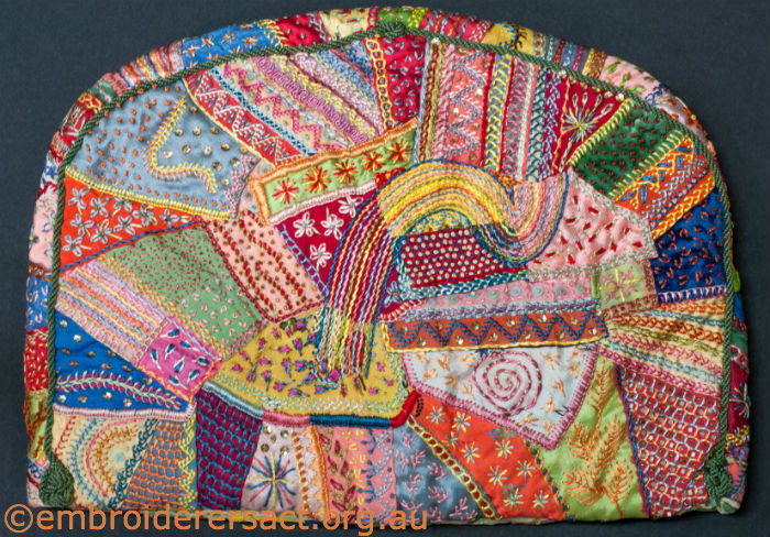crazy patchwork tea cosy stitched by Edith Downes in 1937