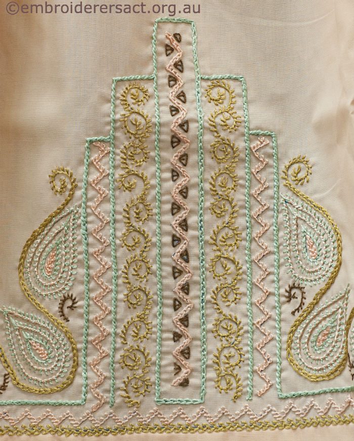 Detail of Dorset Feather Stitchery on Apron. Held in Guild's Collection