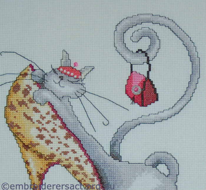 Detail Cat & Stiletto shoe x-stitched by Edna Haydon