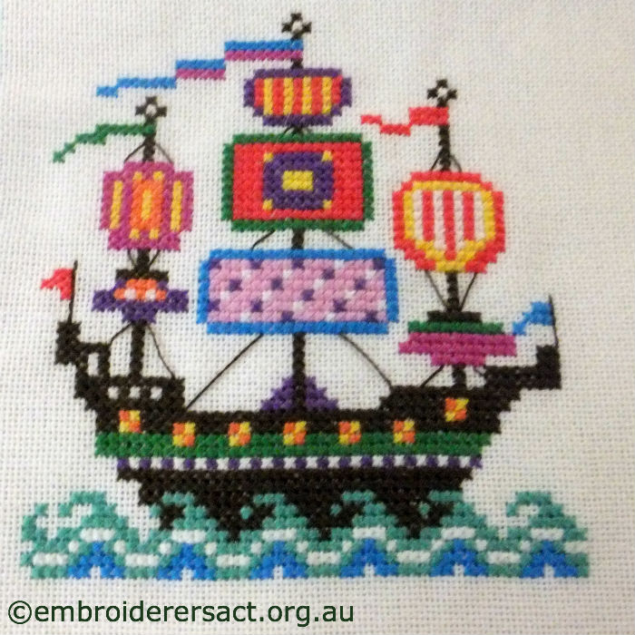 Cross Stitch of Sailing Ships