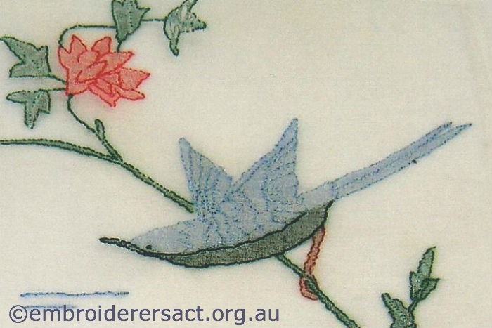 Bird detail from vintage embroidery in Guild Collection