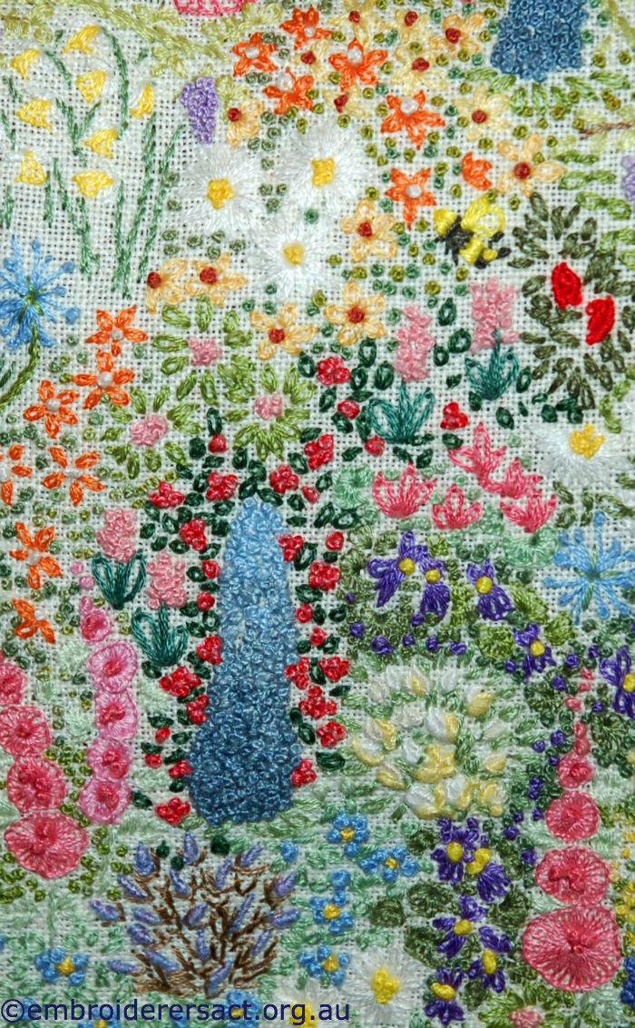 Detail of embroidered bag stitched by Lee Scott