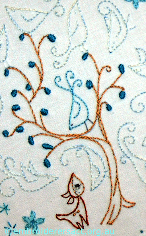 Detail Ghosts Birds stitchery