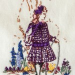 Detail of girl in vintage dress on wallhanging