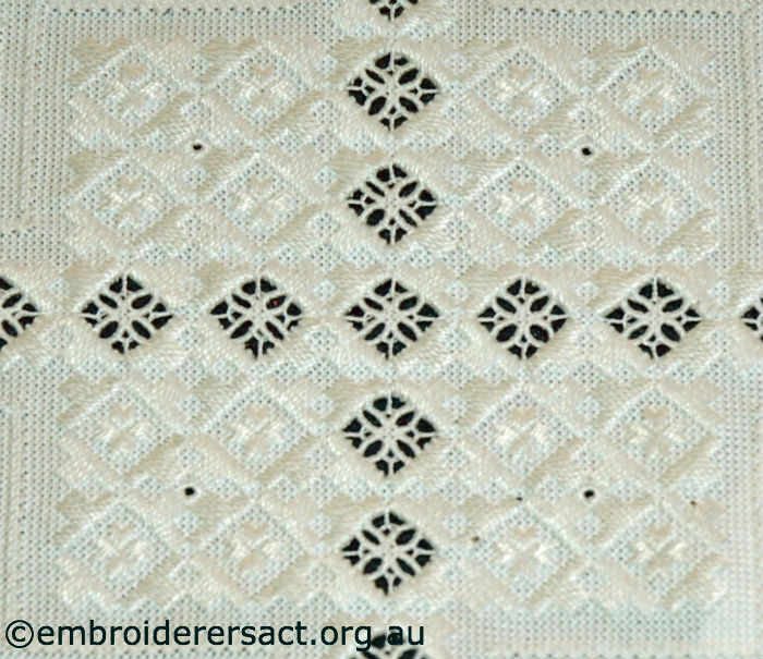 Detail Hardanger doyley stitched by Gloria Steptoe