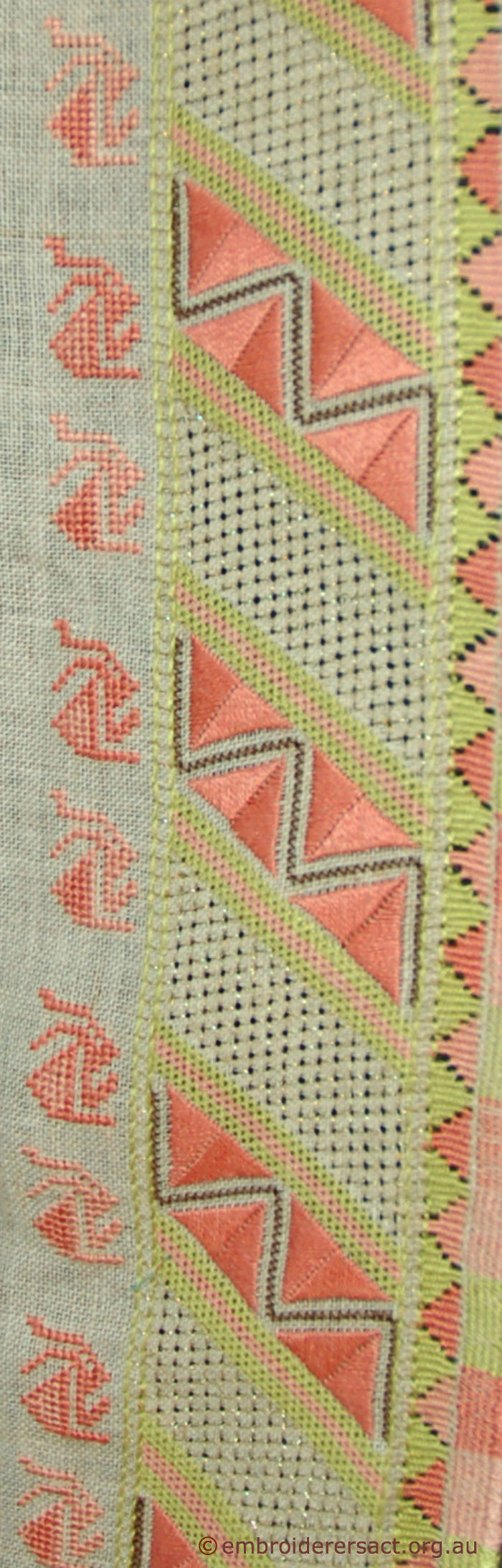 Detail of Thracian Embroidery stitched by Polly Templeton