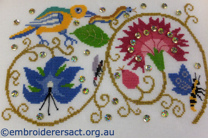 Elizabethan Bird & Borage Cross Stitch