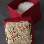 Embroidered box for brooch