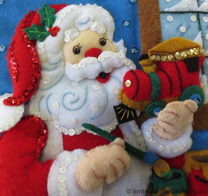 Felt Christmas stocking detail