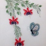 Fuchsias and Butterfly Brazilian Embroidery