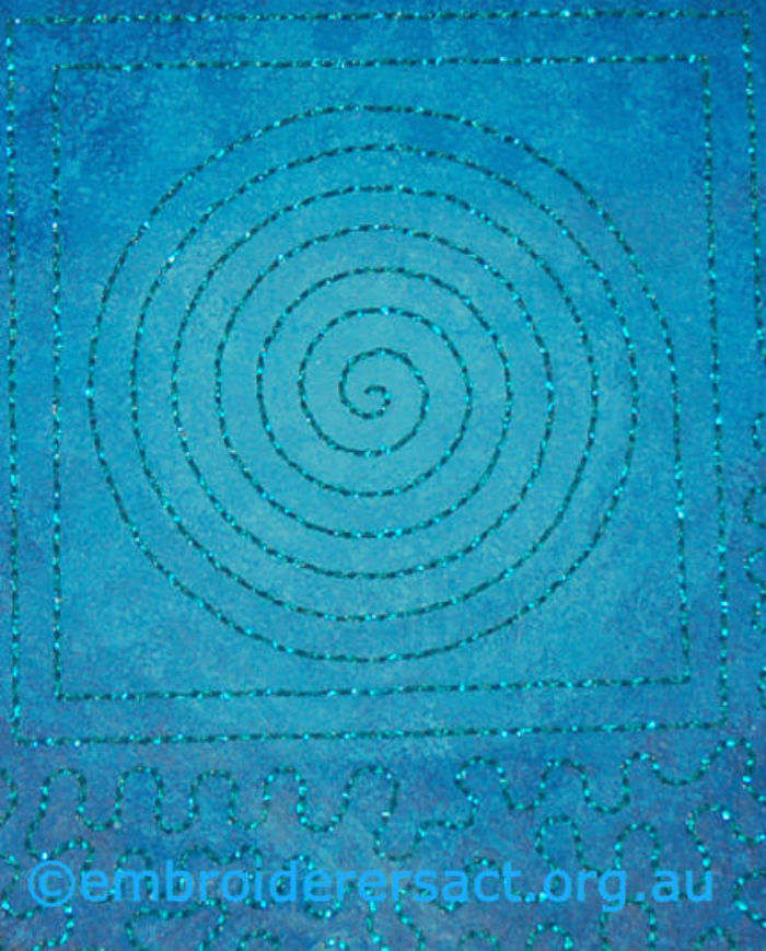 Detail of The aMAZEing Ocean Mandala stitched by Heather Minfie