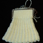 Knitted bead bag stitched by Janet Pearce