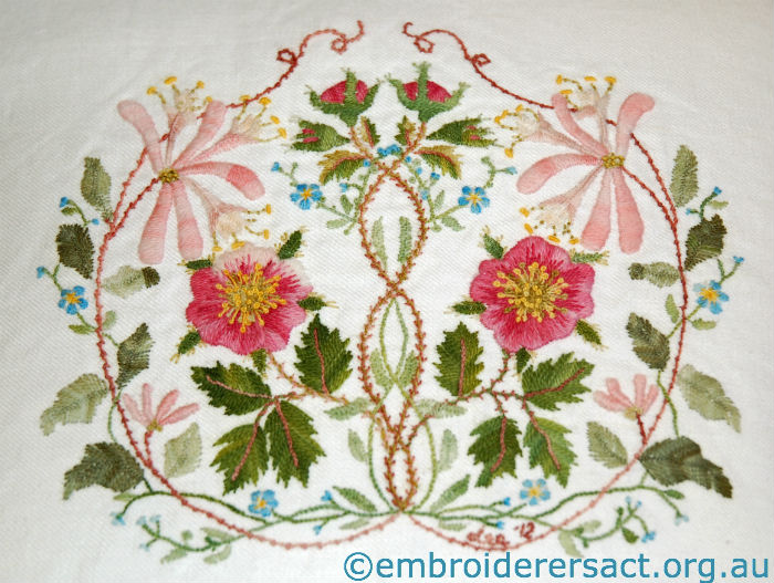 Briar Rose Crewel Cushion stitched by Lee Scott