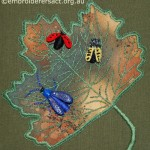 Ladybird & Beetles Stumpwork Box stitched by Meryl Fellows