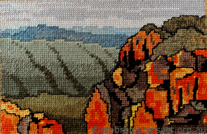 Stitched postcard of Namadgi National Park byJenny Balderson