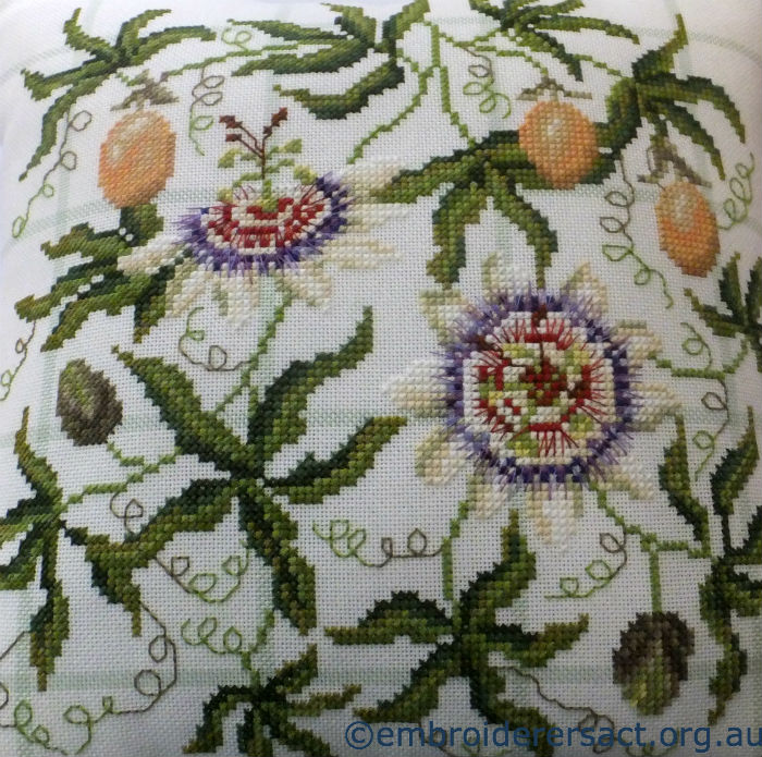 Passion Flower X-stitch cushion