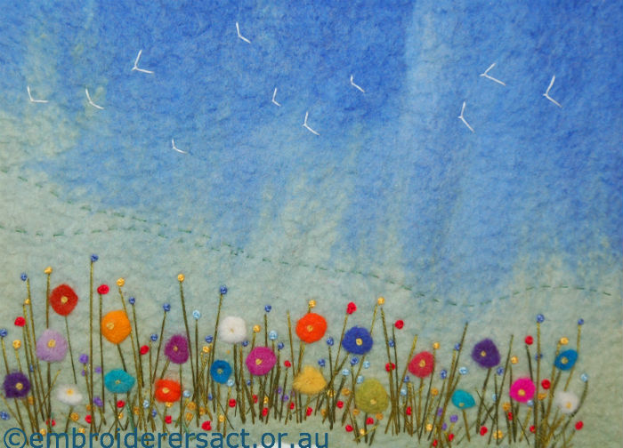 Springtime felted picture by Doreen Grey