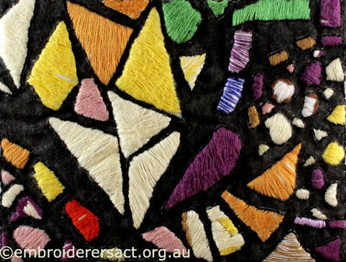 Stitched postcard of Stained Glass window in National Library by Helen Leaney