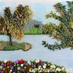 View across the lake postcard by Pat Bootland