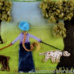 Walking My Dogs Stitched postcard by Christine Bailey