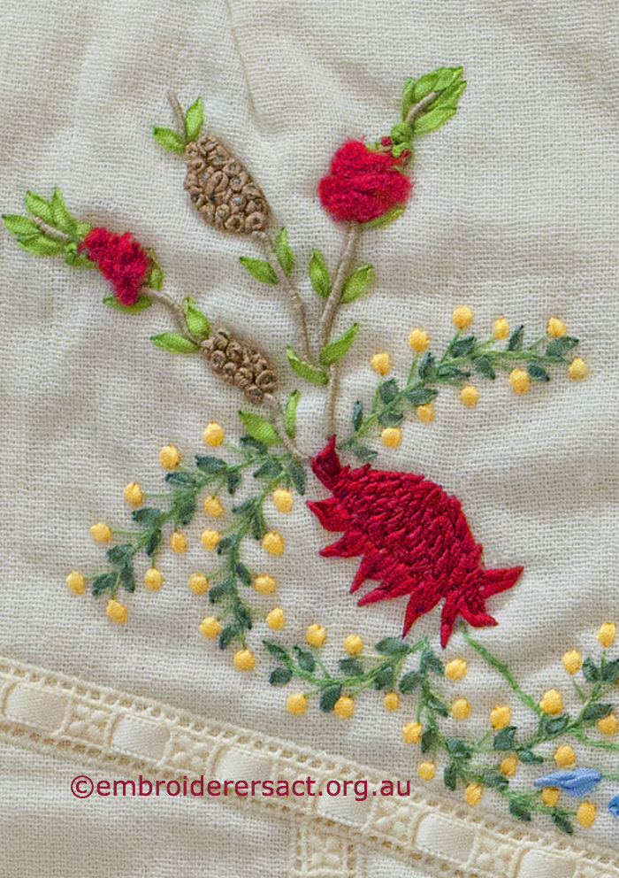 Waratah detail on waistcoat