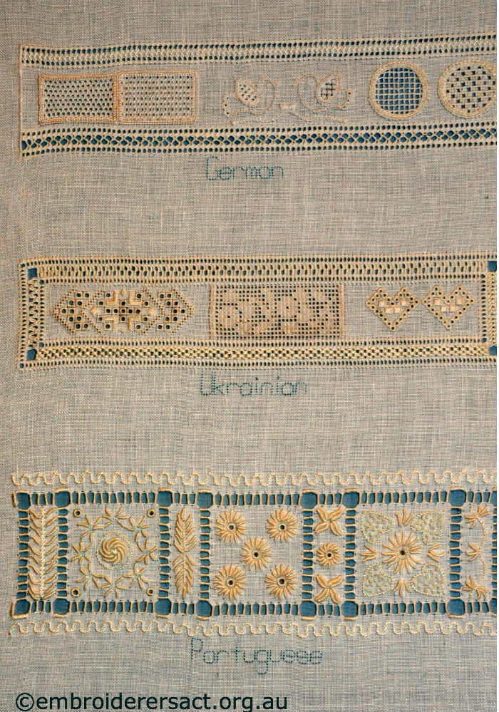 Whitework sampler by jan hure embroiderers guild act