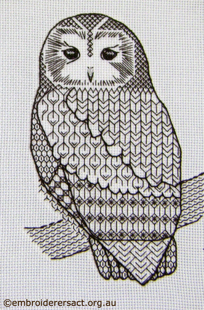 Blackwork owl stitched by Irene Burton