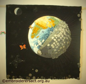 Art Quilt of globe from Italia Invita 2013