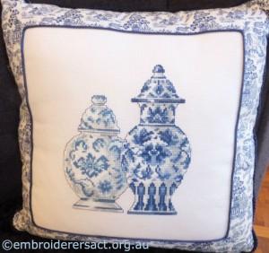 Blue Jars x-stitched by Margaret Joy