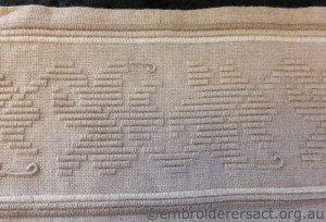Detail Perugino Pencil case stitched by Sarah Kimmorley