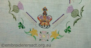 Detail of Coronation tray cloth by Annette Horvath