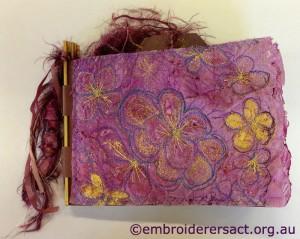 Doreen Grey purple flowers notebook