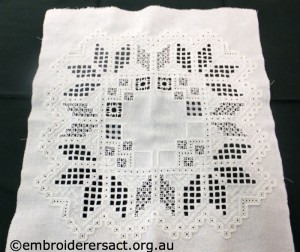 Hardanger rectangle in progress by Meryl Fellows
