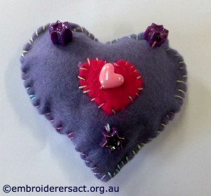Melanie purple heart with beads