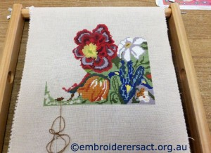 Red flower x-stitch in progress Barbara Bailey