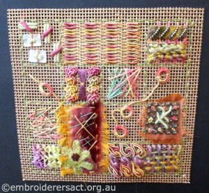 Sampler of stitches by Pat Bootland