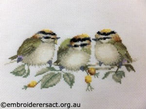 Three Goldcrests finished x-stitch by Faye Guy