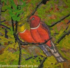 Two birds detail Noriko Endo quilt