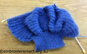 blue knitting Val Woodward