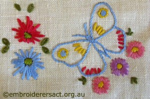 Detail Blue Butterfly and flowers by Cecilia Skene