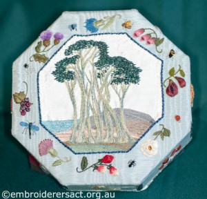 Hexagonal Box with Trees and sea by Pat Bootland