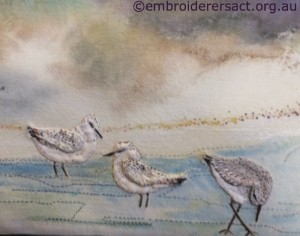 Sandpipers Detail from Stitched Seascape by Lyn Baldwin