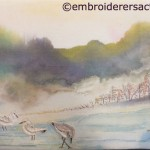 Stitched Seascape with Sandpipers